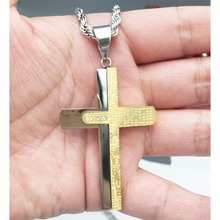 Top quality Silver Gold tone Cross Men Necklace Stainless Steel Jewelry Wholesale Holy Bible Trendy Double Sides Cross Pendant(China)