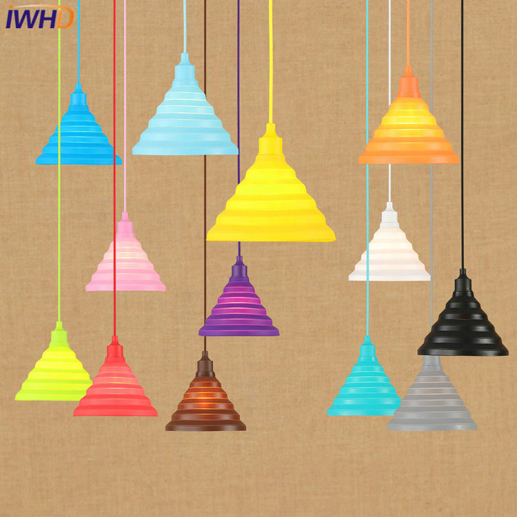 IWHD Modern LED Pendant Lights Colorful Creative Simple Pendant Lamp Droplight Loft Hanglamp Fixtures Home Lighting Luminaire<br>