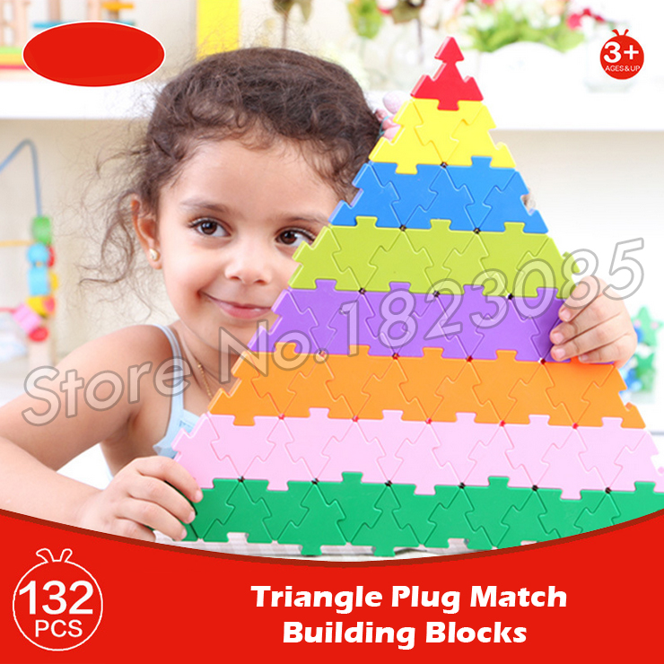 132pcs Triangle Plug Match Model Building Blocks Action Learning Bricks Baby Toys 2016 Boys Girls Gift<br>