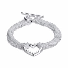 Free Shipping Wholesale Plated Silver Bracelet, Plated Silver Fashion Jewelry Web Heart Bracelet KDH066