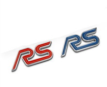 50pcs/lot Blue Red Thick Style Chrome Metal RS Car Tail Emblem Badge Decoration for Fiesta Kuga eco sport Exploror Mustang(China)
