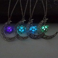 KISS WIFE 1PC Moon Glowing Necklace Charm Jewelry Silver Halloween Gifts(China)