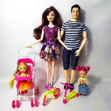 Fashion Doll Girls Toys Family 4 People Dolls Suits 1Mom/1Dad/2 Little Kelly Girl/1scooter/1 Baby Carriage for barbie Gift TR63(China)