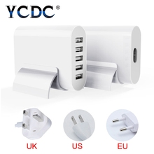 YCDC Portable 4.7ft cable 5-Port USB charging adapter EU US UK Plug Home/travel universal power socket For Mobile Phone iPad(China)