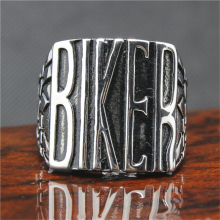 316L Stainless Steel Silver BIKER Ring Mens Motorcycle Biker Band Party Mens Ring(China)