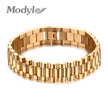 Modyle Men Bracelet Gold-Color 22cm Chunky Chain Bracelets Bangles Stainless Steel Male Jewelry Gift(China)