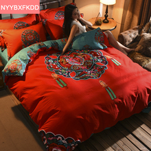Chinese Style Red Embroidery 100% Cotton 4pcs Thicken Wedding Bedding Set Duvet Cover Bed linen Quilt King Queen Size