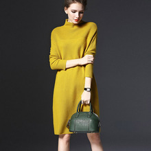 2017 new women spring autumn winter sweater dresses O-Neck knitted dress sexy bodycon robe dress full sleeve Free ship