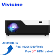 Vivicine M18 1920X1080 Real Full HD Projector, HDMI USB PC 1080 p LED Home Multimedia Video Game Projector Proyector Ondersteuning AC3(China)