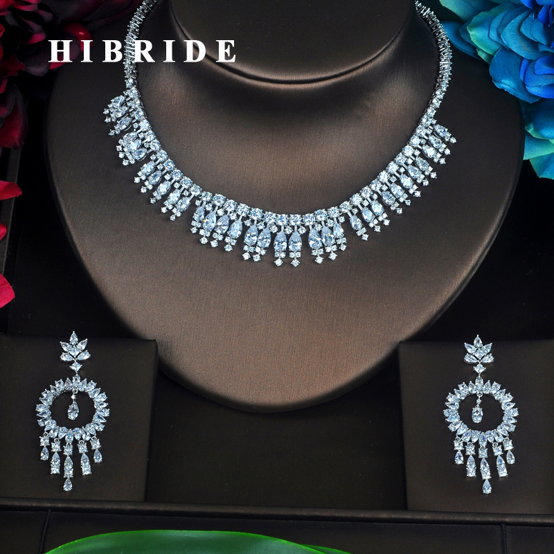HIBRIDE Clear High Quality Tassel Cubic Zirconia Women Jewelry Sets Earring Set Wedding Bride Dress Accessories N-359