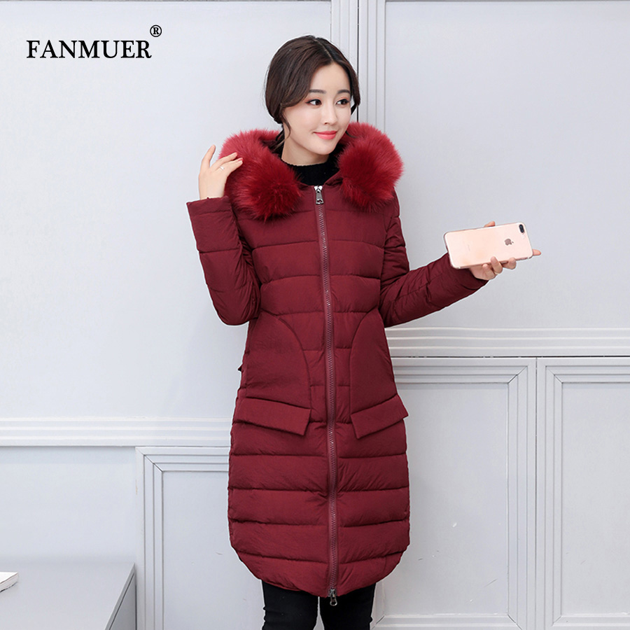 Fanmuer 2017 Winter coat womens parka fur collar women clothing solid long warm parka outwear ladies coats parkasÎäåæäà è àêñåññóàðû<br><br>