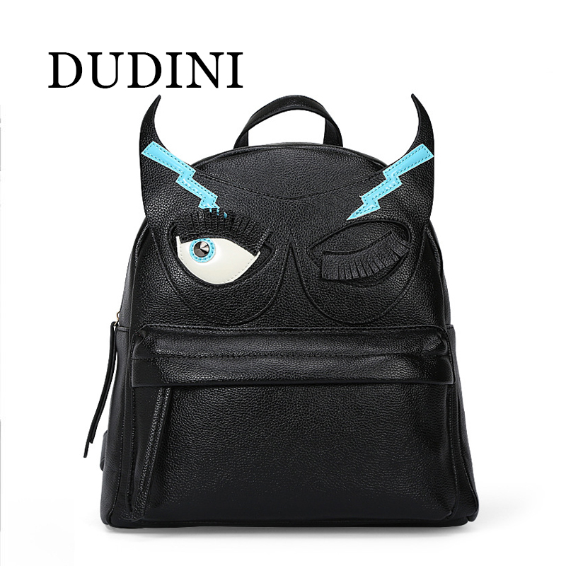 DUDINI New Female Bag Quality Pu Leather Women Bag Cute Animal Backpacks Monster College Wind Mini Backpack<br><br>Aliexpress