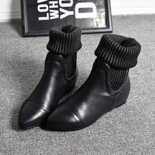 Women Fashion Genuine Leather Ankle Boots Women Winter 4cm Height-increasing Knitted Boots Mid-calf Shoes Size 35-40