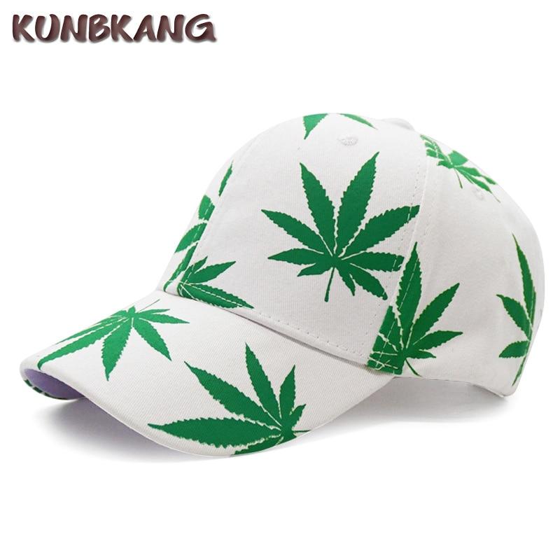 White Weed Leaf Man Washed Denim Cotton Baseball Cap Sport Outdoor Adjustable Hats