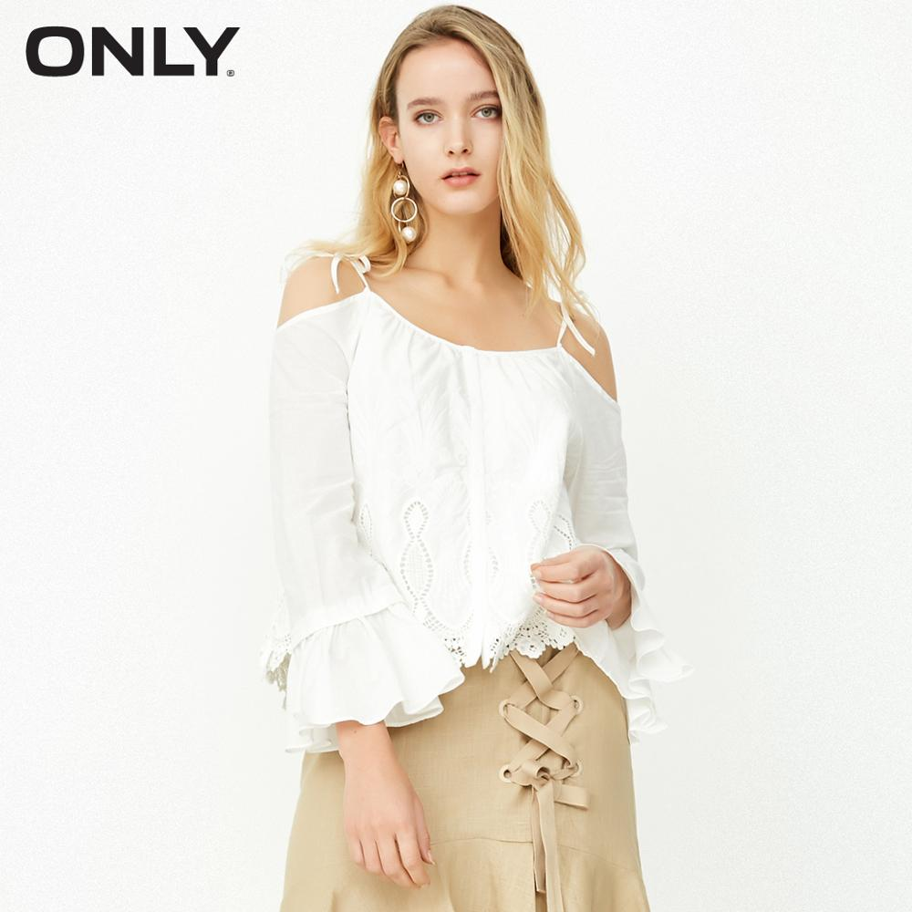 ONLY women's spring new off-the-shoulder straps ruffled sleeves shirt women | 118158526
