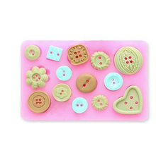 Food Use Grade Sugar Craft Assorted Novelty Buttons Candy Cupcake Topper Silicone Mold Sugar Craft Cake Decoration