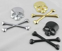 3D Skull Metal Skeleton Crossbones Auto Motorcycle Label Emblem Badge Car Styling Stickers Decal Accessories For Cadillac XTS(China)