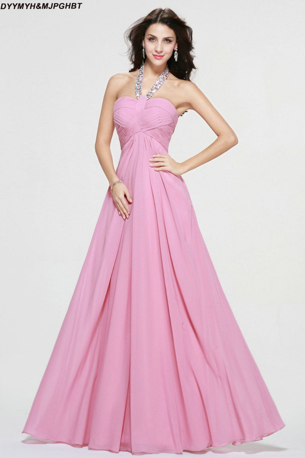 Baby pink dress bridesmaid promotion shop for promotional baby dusty pink maid of honor dresses crystal halter open back with bow long baby pink chiffon bridesmaid dresses ombrellifo Choice Image