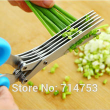 2015 new 1Pcs Stainless 5 Layer Scissors Kitchen Knives Cooking Tool Multifunctional  Laver Broken Spices Scissors  NN004