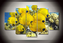 Wall Art Canvas Painting 5Pcs Coral Marine Fish Cute Modular Pictures Home Decor Wall Pictures For Living Room Modern Paintings(China)