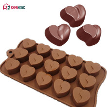 SHENHONG Pop Heart Chocolates Mould 3D Non-stick Silicone Cake Mold Art Mousse Moule Silikonowe Pastry Muffin Brownie Baking(China)