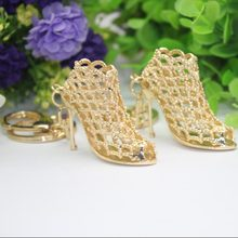 CL: Shoe Keychain-Hot!!! High Quality Creative Gorgeous Women Bag Pendent Golden High Heeled Shoes Key chain Keyring #1710205