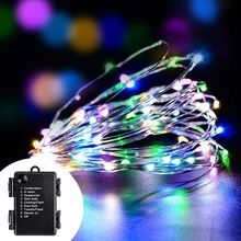 100 Led String Fairy Lights Battery Decoration Lights Outdoor Indoor 8 Mode Copper String Lights Lamp for Christams New Year(China)