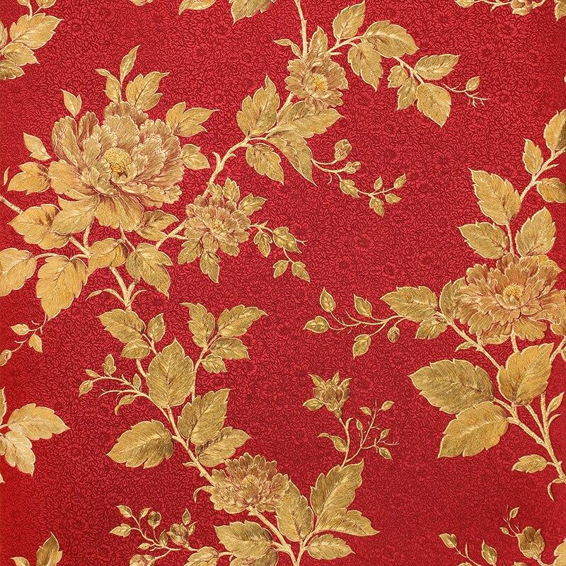 Modern Red Gold Foil Living Room Wallpaper Italy Red Flower 3d Landscape Wallpaper Romantic Orange Wallpaperkins Flowers<br>