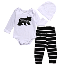 2016 Cute Baby Boy Girl Clothes Bear Club Long Sleeve Cotton Bodysuit Romper Striped Pant Hat 3pcs Autumn Outfits s Clothing(China)