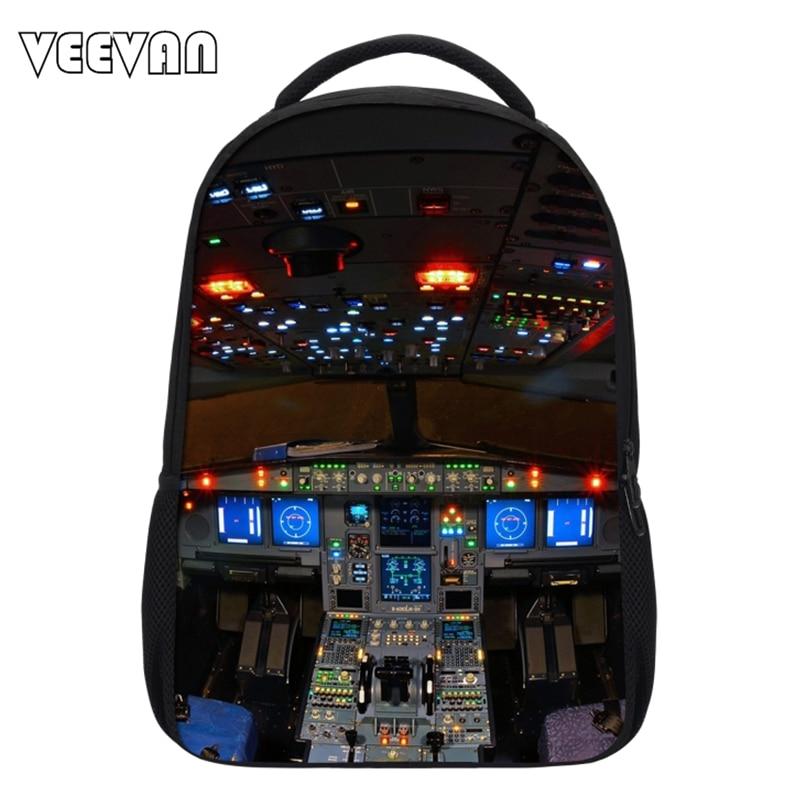 New Casual Aircraft Cabin Printing Bag Mens School Backpacks for Children Cockpit Pattern Shoulder Bag School Laptop Backpacks<br><br>Aliexpress