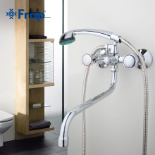 Frap Long nose water outlet pipe bathroom faucet Bathtub mixer Two-handle control F2209D(China)