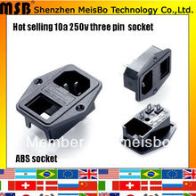 Global CE Rohs 250v 10a abs material black socket outlet 500pcs/lot free shipping by fedex(China)