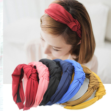 DPSaiLYY 2 PC Hot Sale Korean Bow knot Headbands for Women Women Lady Solid Cloth Hairband Hair Accessories for Women Headwear(China)