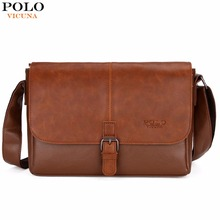 VICUNA POLO Famous Brand Men's Shoulder Bag Magnetic Open Casual Trendy Men Crossbody Bag England Style Handbag sacoche homme(China)
