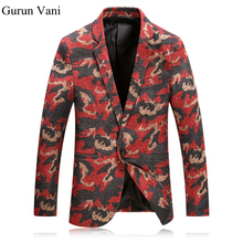 Red Blazer Men Floral Casual Slim Blazers 2017 New Arrival Fashion Party Single Breasted Men Suit Jacket Blazer Masculino