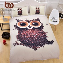 BeddingOutlet 3D Cute Owl Bedding Set Single Size Coffee Beans Printed Duvet Cover with Pillowcases Soft Quilt Cover 3 Pieces(China)