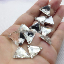 Wholesale 22mm,16mm,12mm Triangle shape Sew on stone Crystal Clear color 3holes Sewing crystal beads for dress,garment