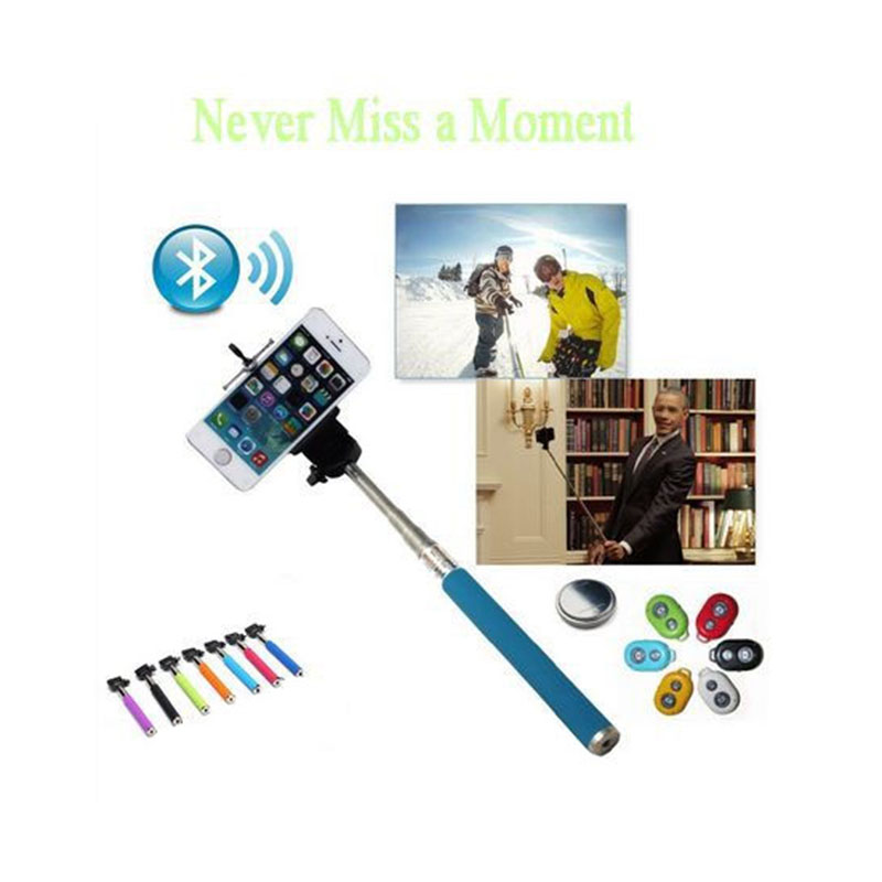 Fashion Extendable Self Selfie Stick Handheld Monopod+Clip Holder+Bluetooth Shutter Remote Controller for iPhone/Android Phone<br><br>Aliexpress