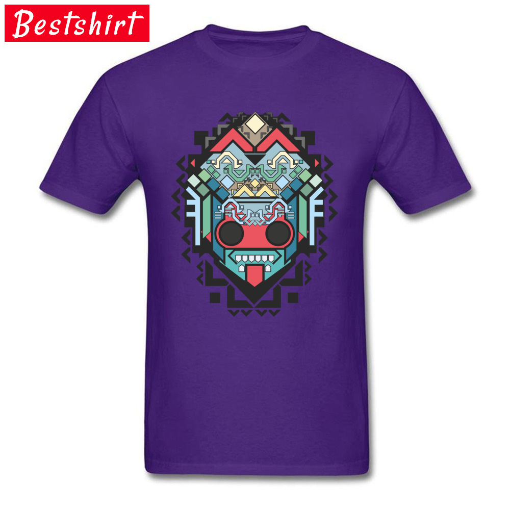 Men Retro Tops & Tees O-Neck Summer 100% Cotton Fabric T-shirts Printed On Abstract geometric colored inca art Clothing Shirt Abstract geometric colored inca art purple