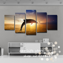 Modern 5 Panels  Painting Canvas Wall Art Picture Home Decoration Lovely dolphin show Act Swim Jump Sea Canvas Prints