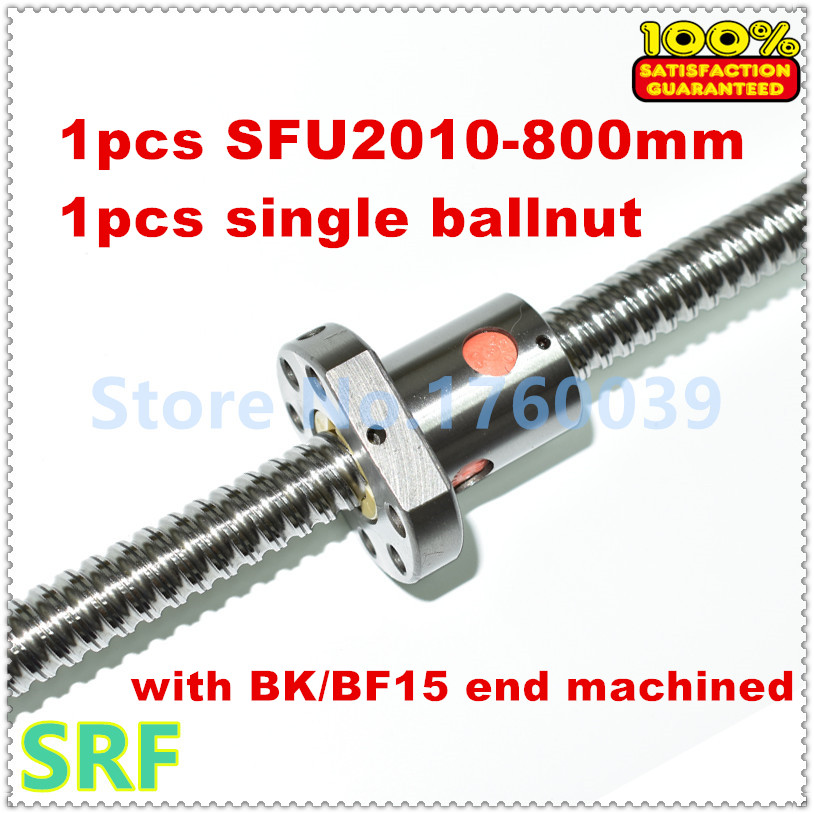 High quality 20mm Diameter Rolled Ballscrew SFU2010 L=800mm+1pcs SFU2010 Ball screw ballnut with end machined for CNC parts<br>