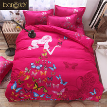New Arrival Pink Duvet Cover Queen/King/Twin Cotton Blend Butterfly and Girls Palace Style Quilts Covers Bedding Set