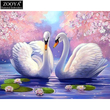 ZOOYA full square drill diamond embroidery swan lake lover 5d diy diamond painting Cross Stitch Rhinestone mosaic decor MX