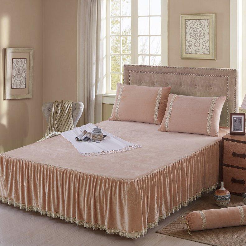 3Pcs Fleece Bed Skirt Set W/ Pillowcases, Mattress Protective Cover 50
