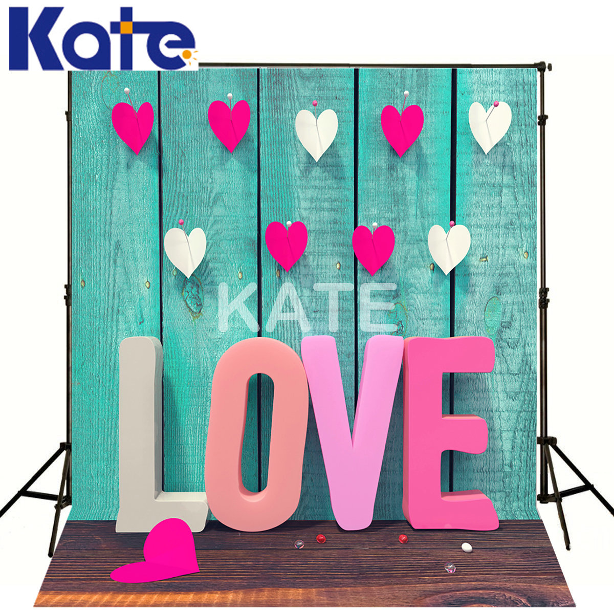 KATE 5x7ft Valentines Day Backdrops Blue Wood Floor Backdrop Pink Wood Latter Backdrops Love Valentine Day Photography Backdrop<br>