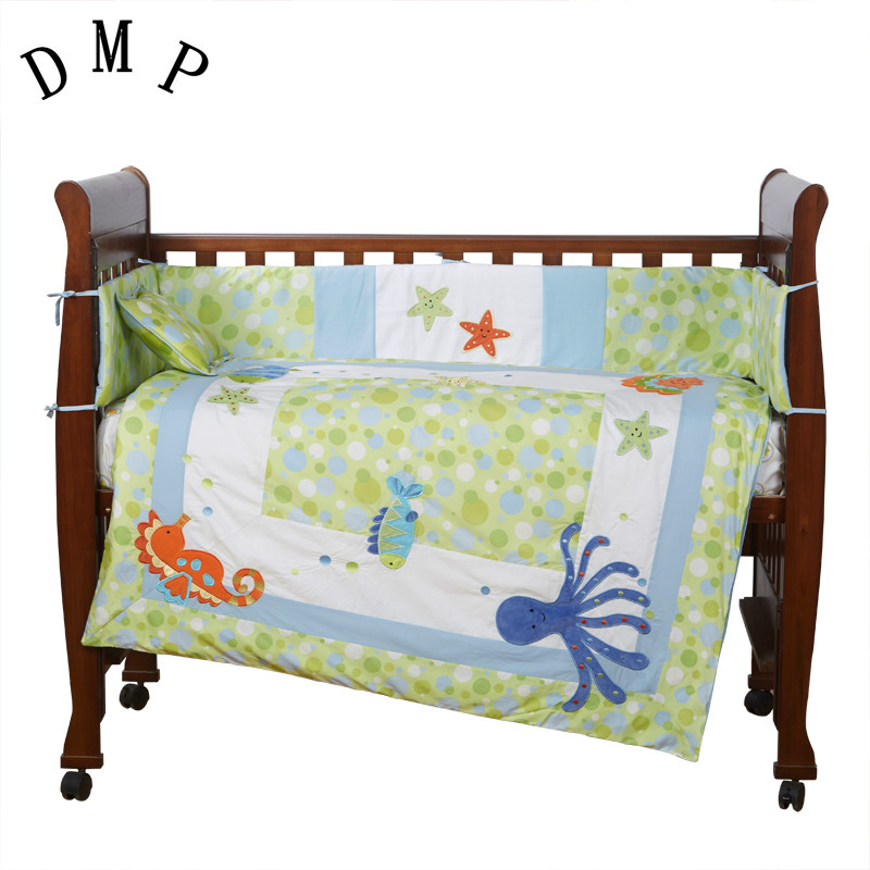 7PCS embroidered baby cot bedding set 100% cotton baby bedding sets crib bedding  ,include(bumper+duvet+sheet+pillow)