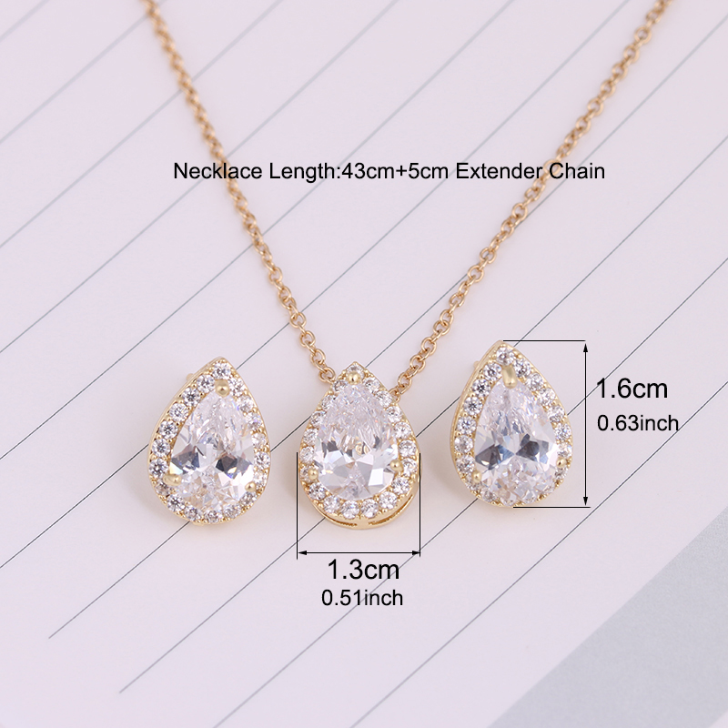 Nigerian Water Drop Cubic Zirconia Wedding Jewelry Sets inlay Luxury Crystal Bridal Jewelry Set Gifts For Bridesmaids AS099 3