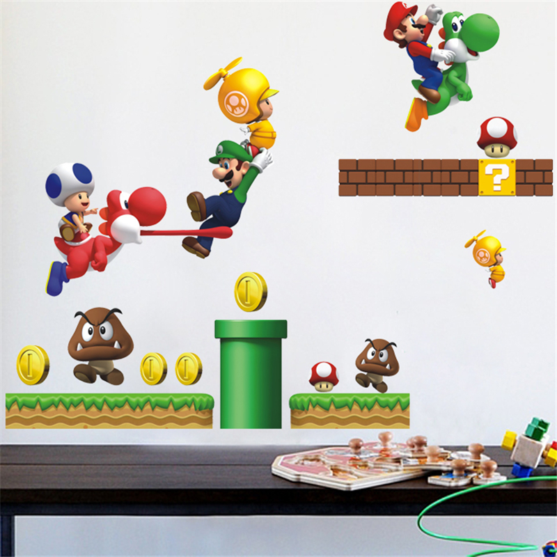 HTB1iRjAOpXXXXaZapXXq6xXFXXXv Super Mario Bros Kids Removable Wall Sticker Decals Nursery Home Decor Vinyl Mural for Boy Bedroom Living Room Mural Art