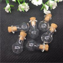 50pieces 20mm round glass ball Bottle jars with cork Perfume essential oil vial pendant mini glass jewelry necklace findings