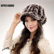 2017 New Fashion Women Winter Genuine Rex Rabbit Fur Hat Girl Real Rex rabbit Fur Cap Elegant Winter Hat Free Shipping JN014